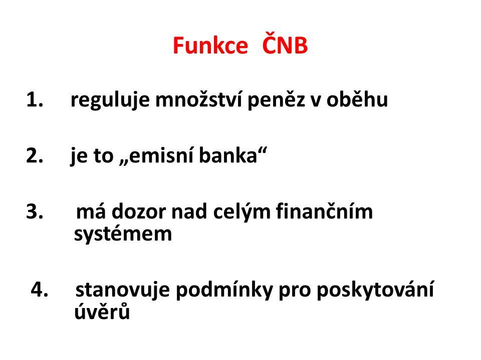 """Funkce ČNB 1. reguluje množství peněz v oběhu 2. je to """"emisní banka 3."""