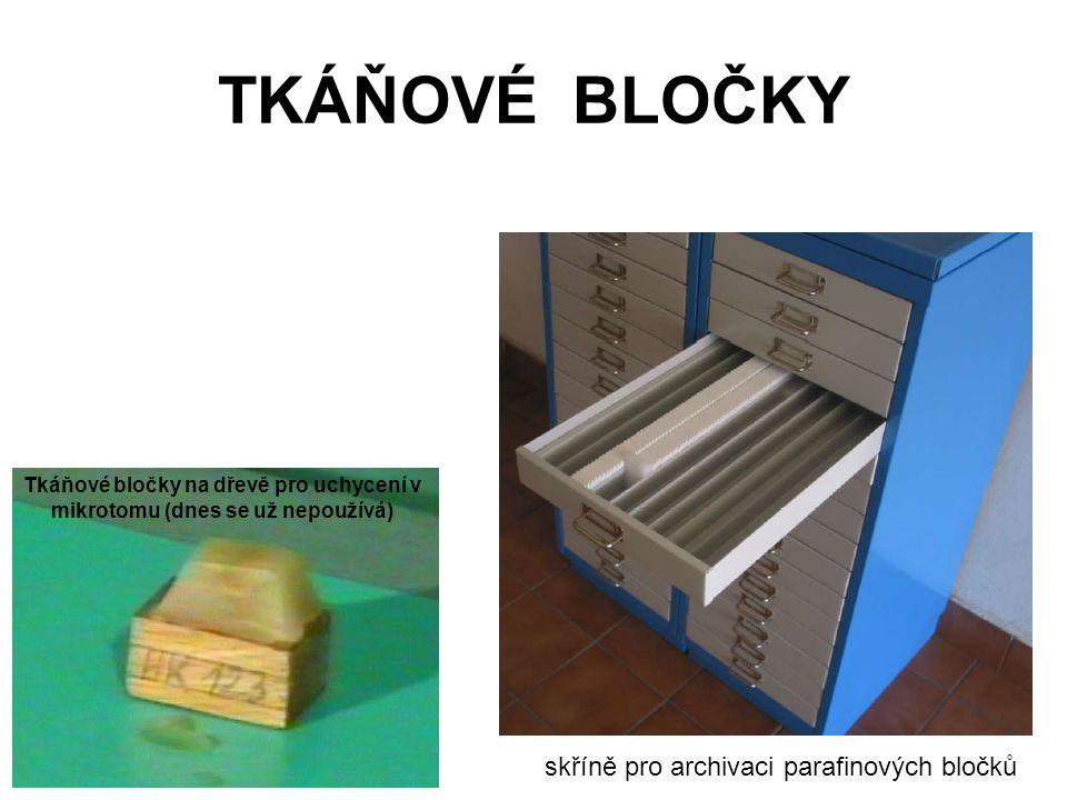 TKÁŇOVÉ BLOČKY skříně pro archivaci parafinových bločků Tkáňové bločky na dřevě pro uchycení v mikrotomu (dnes se už nepoužívá)