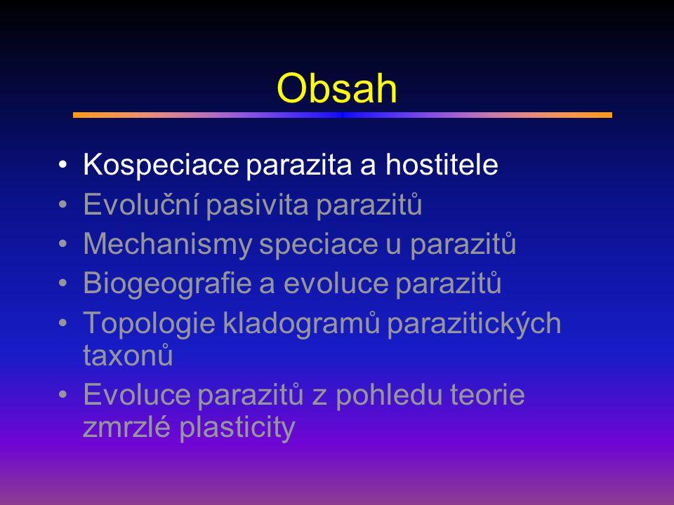 Fahrenholzovo pravidlo Kladogeneze a anageneze parazitů je paralelní s kladogenezí a anagenezí jejich hostitelů.