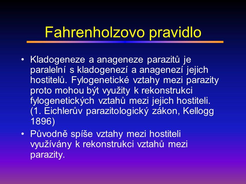 Kongruence fylogramů parazitů a jejich hostitelů Důvod: kospeciace parazita a hostitele – asociace díky společnému původu Známé příklady: Fíky a jejich vosičky, Buchnera aphidicola (symbiont) a mšice, australské jmelí a borovice, pytlonoši (Geomyidae) a jejich vši