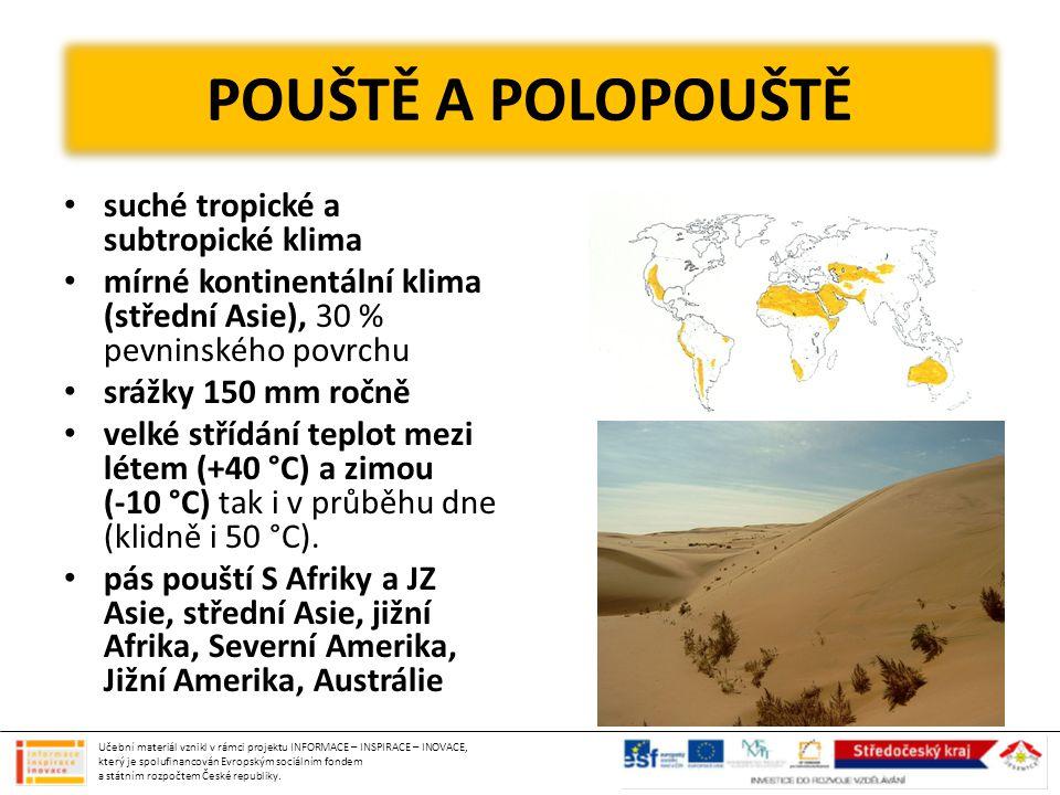 suché tropické a subtropické klima mírné kontinentální klima (střední Asie), 30 % pevninského povrchu srážky 150 mm ročně velké střídání teplot mezi l
