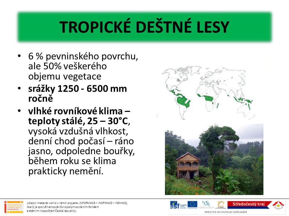 6 % pevninského povrchu, ale 50% veškerého objemu vegetace srážky 1250 - 6500 mm ročně vlhké rovníkové klima – teploty stálé, 25 – 30°C, vysoká vzdušn