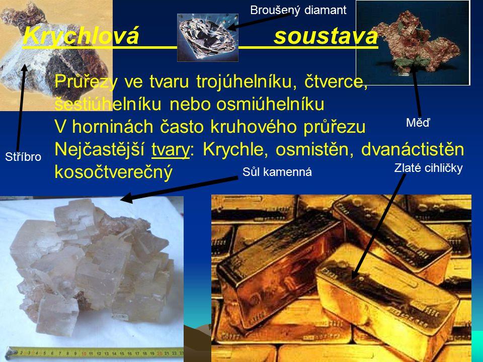 Krychlová soustava Průřezy ve tvaru trojúhelníku, čtverce, šestiúhelníku nebo osmiúhelníku V horninách často kruhového průřezu Nejčastější tvary: Krychle, osmistěn, dvanáctistěn kosočtverečný Zlaté cihličky Sůl kamenná Stříbro Broušený diamant Měď
