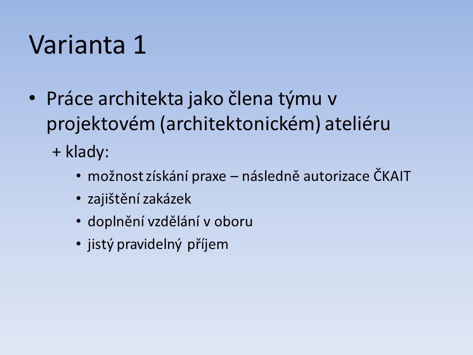 Varianta 1 Práce architekta jako člena týmu v projektovém (architektonickém) ateliéru + klady: možnost získání praxe – následně autorizace ČKAIT zajištění zakázek doplnění vzdělání v oboru jistý pravidelný příjem