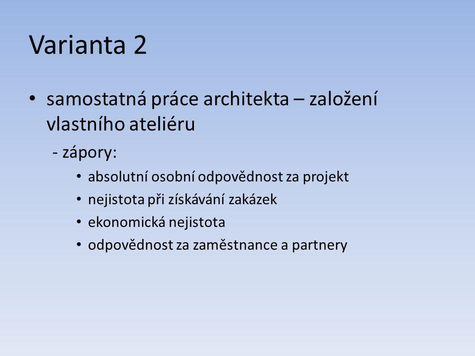 Varianta 2 samostatná práce architekta – založení vlastního ateliéru - zápory: absolutní osobní odpovědnost za projekt nejistota při získávání zakázek ekonomická nejistota odpovědnost za zaměstnance a partnery