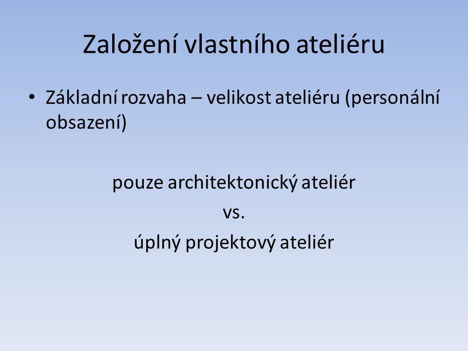 Založení vlastního ateliéru Základní rozvaha – velikost ateliéru (personální obsazení) pouze architektonický ateliér vs.