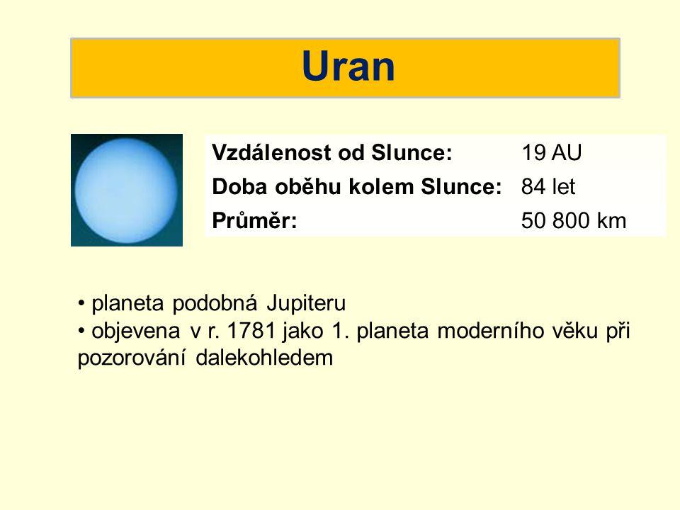 Uran planeta podobná Jupiteru objevena v r. 1781 jako 1. planeta moderního věku při pozorování dalekohledem Vzdálenost od Slunce:19 AU Doba oběhu kole