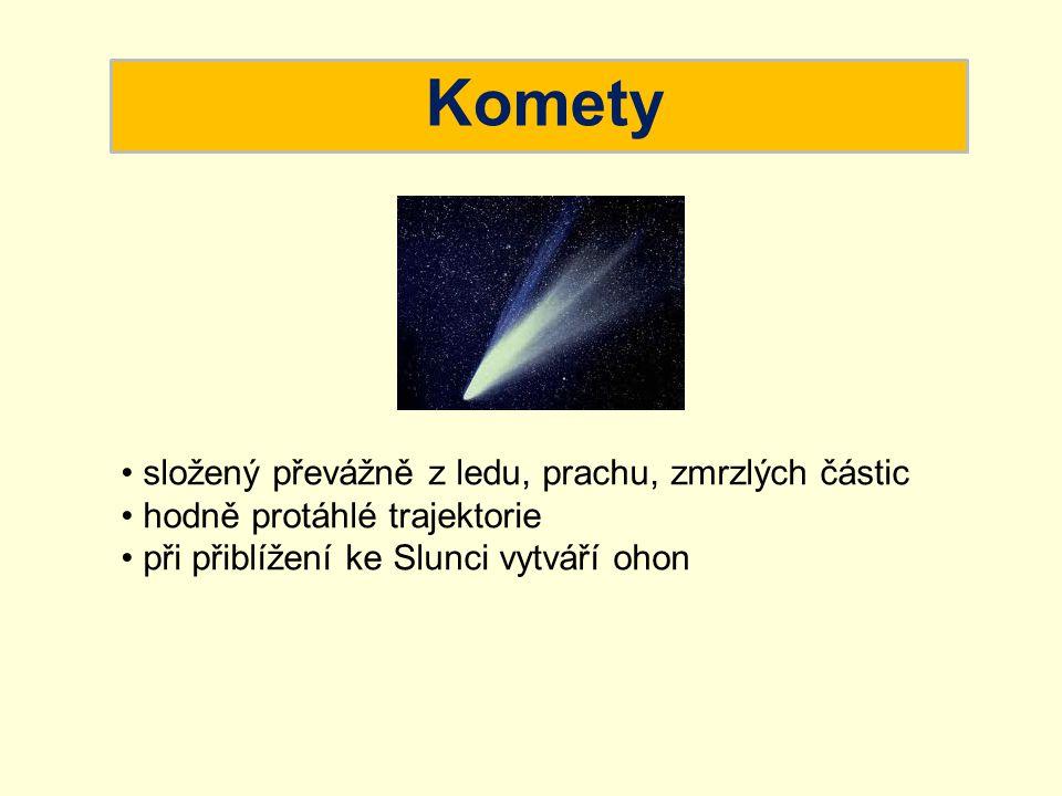 Komety složený převážně z ledu, prachu, zmrzlých částic hodně protáhlé trajektorie při přiblížení ke Slunci vytváří ohon