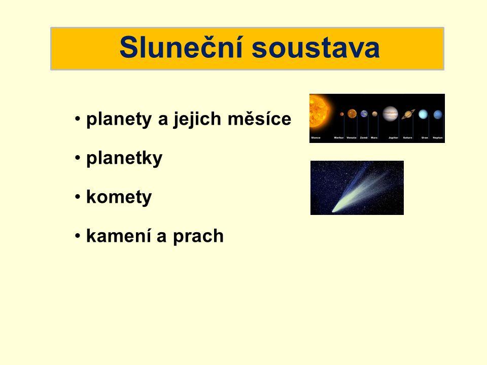 Sluneční soustava planety a jejich měsíce planetky komety kamení a prach