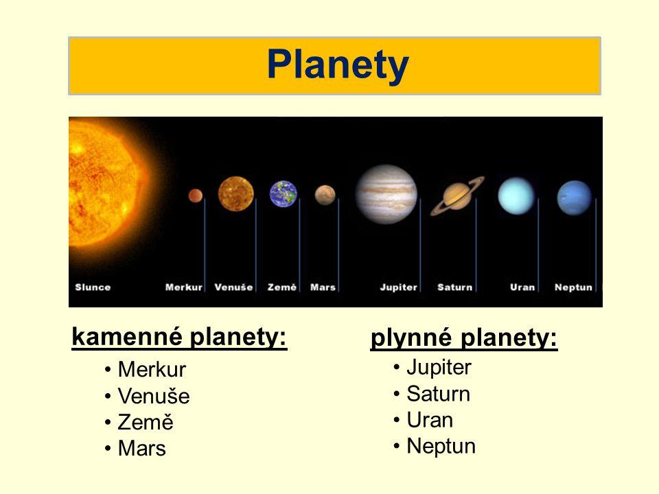 Planety kamenné planety: Merkur Venuše Země Mars plynné planety: Jupiter Saturn Uran Neptun