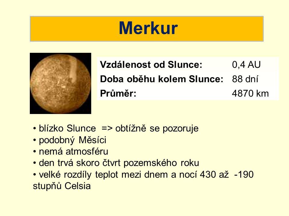 Merkur blízko Slunce => obtížně se pozoruje podobný Měsíci nemá atmosféru den trvá skoro čtvrt pozemského roku velké rozdíly teplot mezi dnem a nocí 4