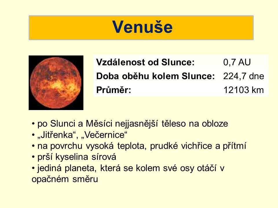 """Venuše po Slunci a Měsíci nejjasnější těleso na obloze """"Jitřenka"""", """"Večernice"""" na povrchu vysoká teplota, prudké vichřice a přítmí prší kyselina sírov"""