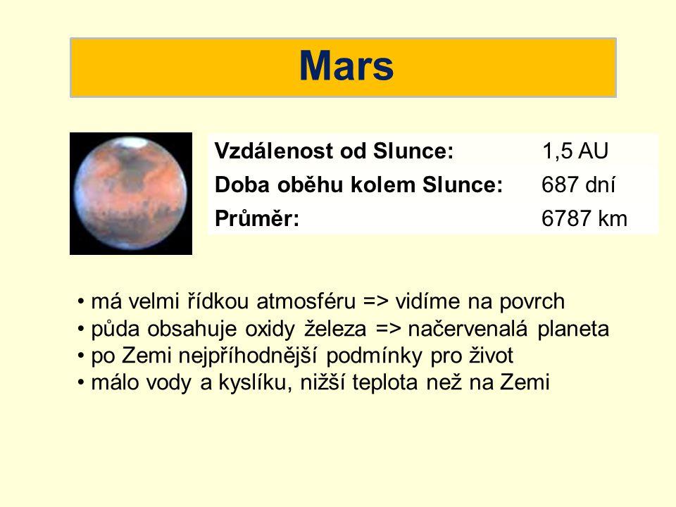 Mars má velmi řídkou atmosféru => vidíme na povrch půda obsahuje oxidy železa => načervenalá planeta po Zemi nejpříhodnější podmínky pro život málo vo
