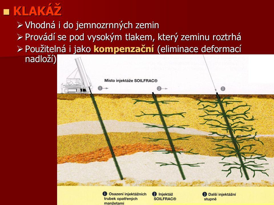 KLAKÁŽ KLAKÁŽ  Vhodná i do jemnozrnných zemin  Provádí se pod vysokým tlakem, který zeminu roztrhá  Použitelná i jako kompenzační (eliminace deform