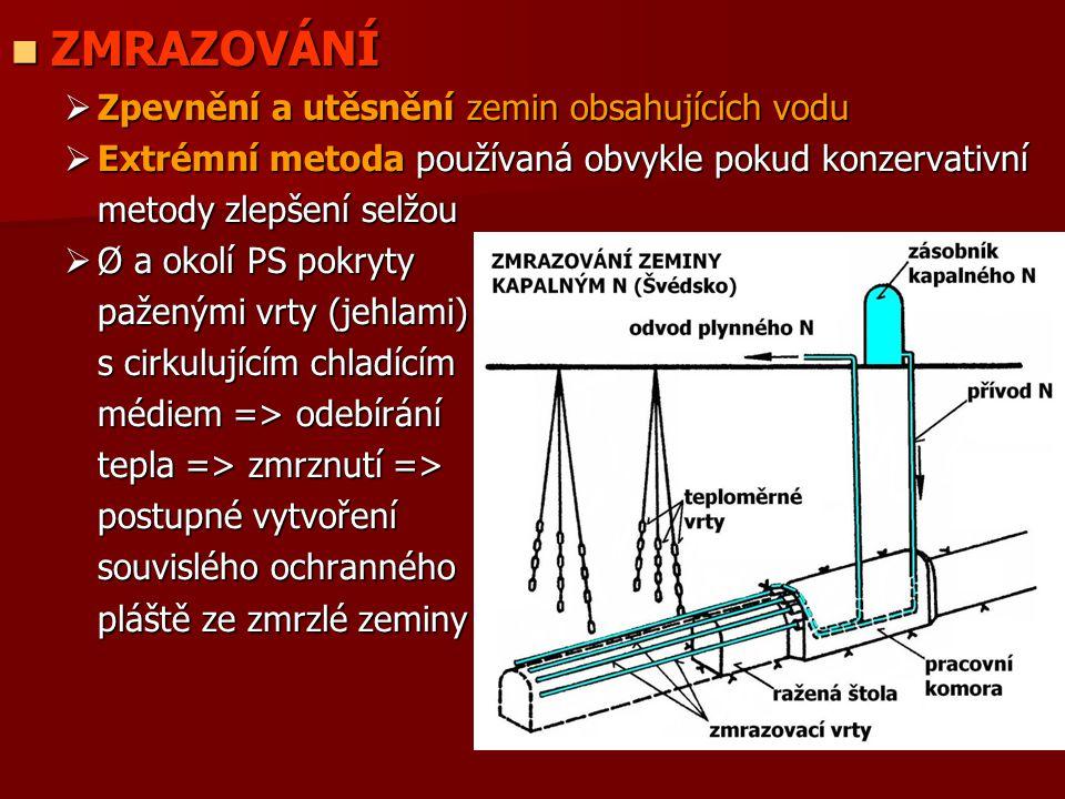 ZMRAZOVÁNÍ ZMRAZOVÁNÍ  Zpevnění a utěsnění zemin obsahujících vodu  Extrémní metoda používaná obvykle pokud konzervativní metody zlepšení selžou  Ø
