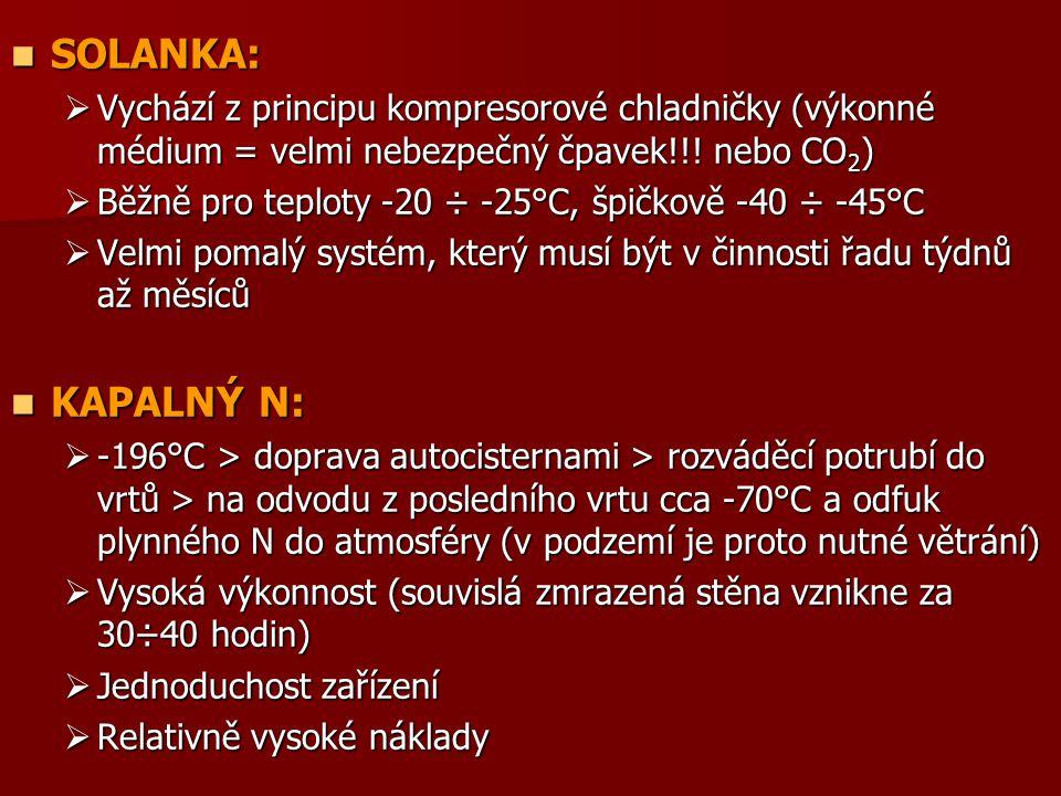SOLANKA: SOLANKA:  Vychází z principu kompresorové chladničky (výkonné médium = velmi nebezpečný čpavek!!! nebo CO 2 )  Běžně pro teploty -20 ÷ -25°
