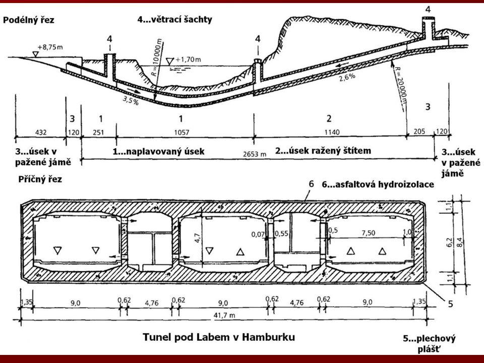 Vysouvání Hmotnost tubusu 6 700 t, ve vodě 70 t, vnější rozměry 6,48 x 6,48 m, tl. stěn 0,73 m