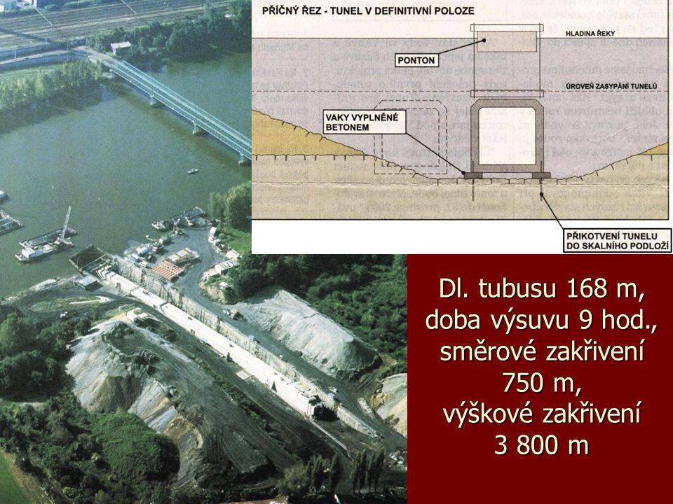 Dl. tubusu 168 m, doba výsuvu 9 hod., směrové zakřivení 750 m, výškové zakřivení 3 800 m