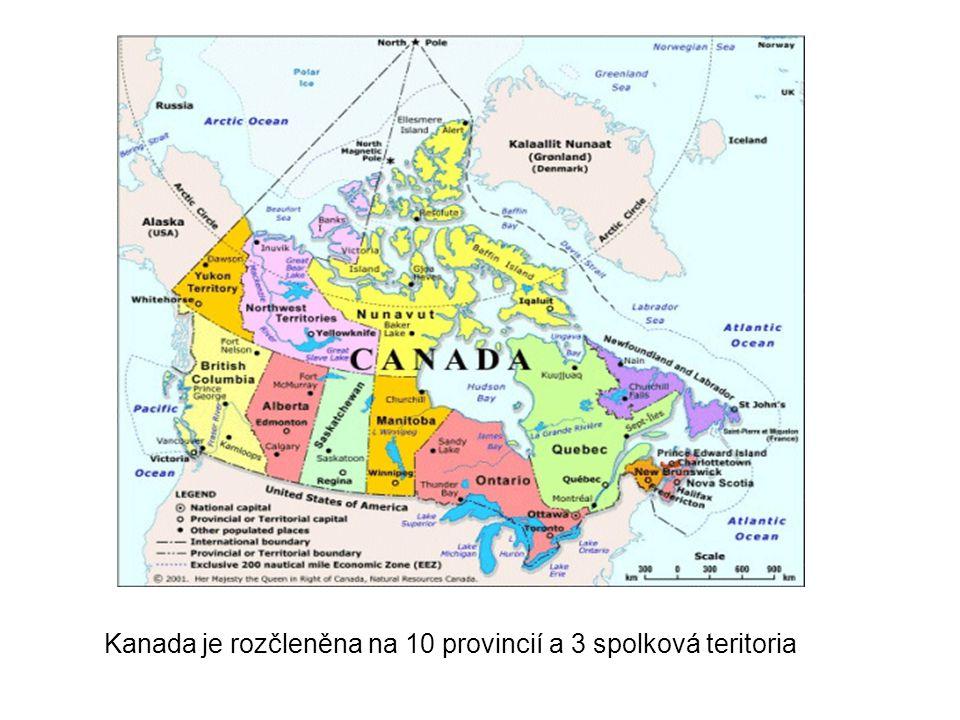 Kanada je rozčleněna na 10 provincií a 3 spolková teritoria