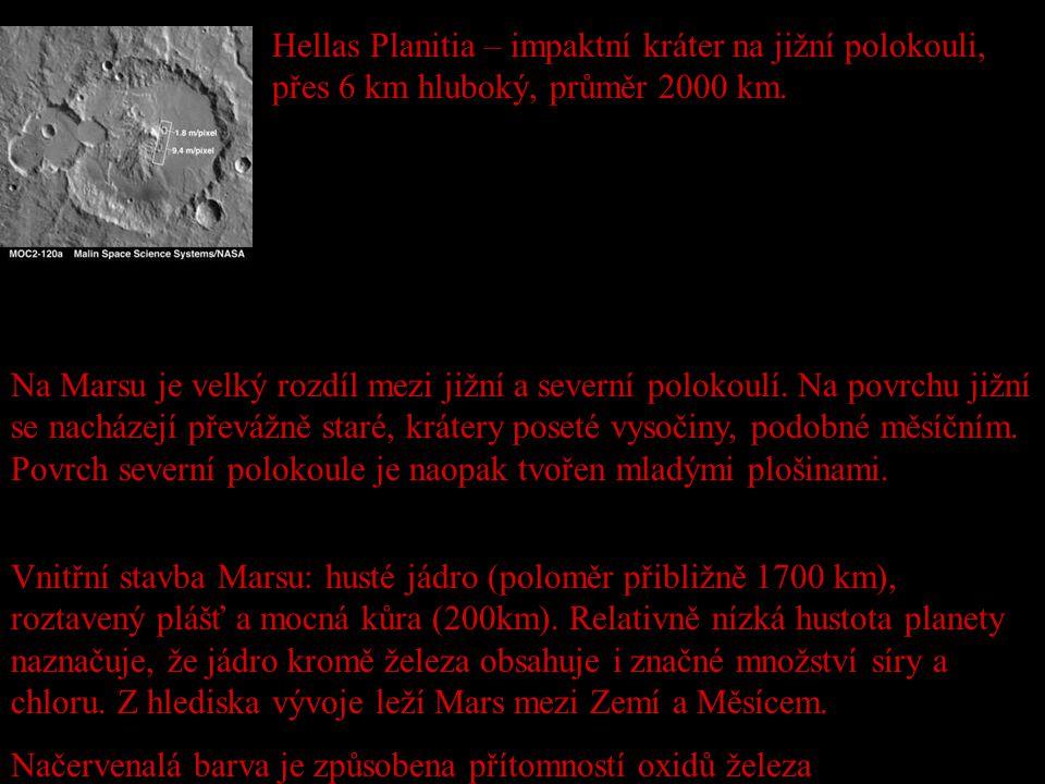 Hellas Planitia – impaktní kráter na jižní polokouli, přes 6 km hluboký, průměr 2000 km. Na Marsu je velký rozdíl mezi jižní a severní polokoulí. Na p