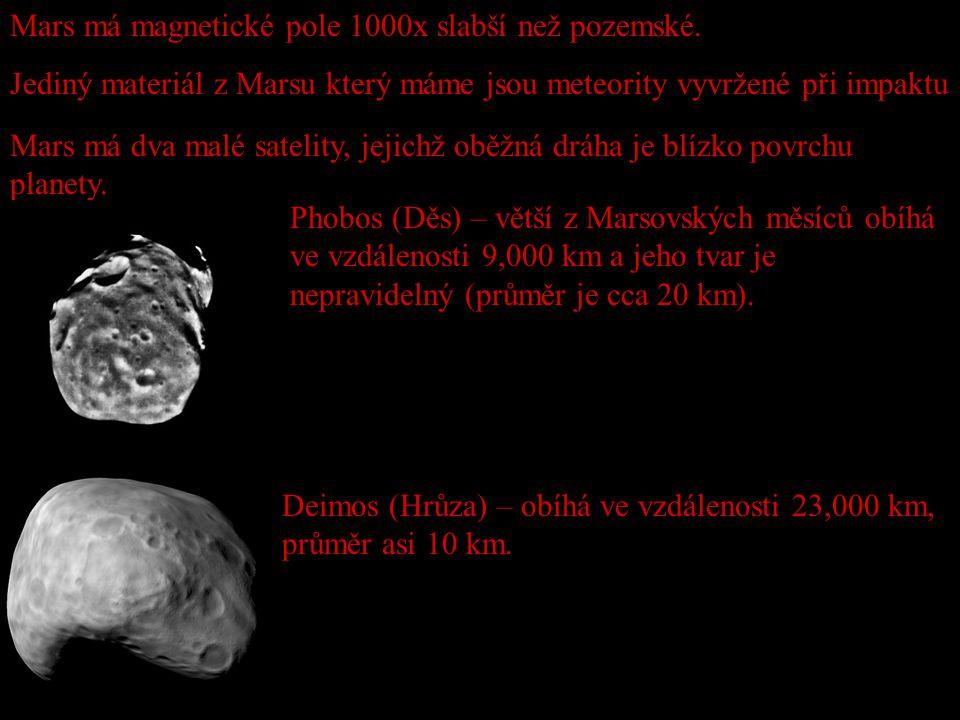 Mars má dva malé satelity, jejichž oběžná dráha je blízko povrchu planety. Mars má magnetické pole 1000x slabší než pozemské. Jediný materiál z Marsu