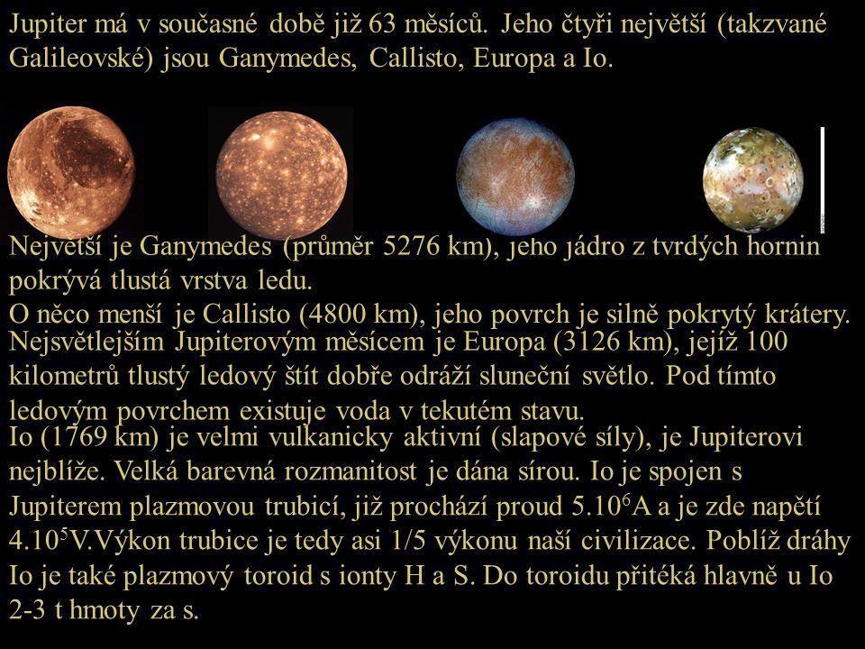 Jupiter má v současné době již 63 měsíců. Jeho čtyři největší (takzvané Galileovské) jsou Ganymedes, Callisto, Europa a Io. Největší je Ganymedes (prů