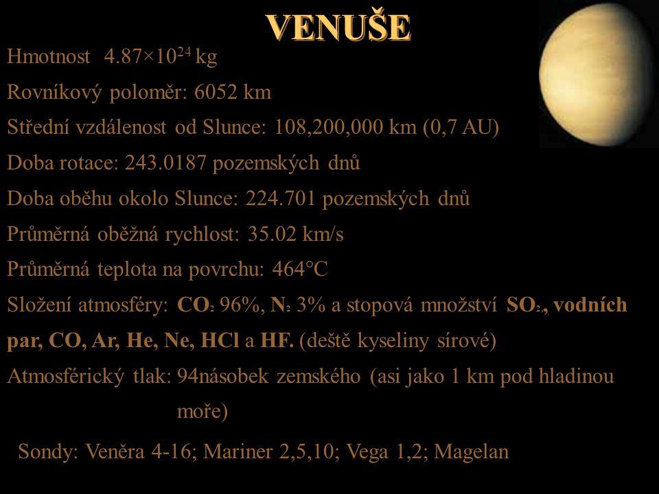 VENUŠE Hmotnost 4.87×10 24 kg Rovníkový poloměr: 6052 km Střední vzdálenost od Slunce: 108,200,000 km (0,7 AU) Doba rotace: 243.0187 pozemských dnů Do