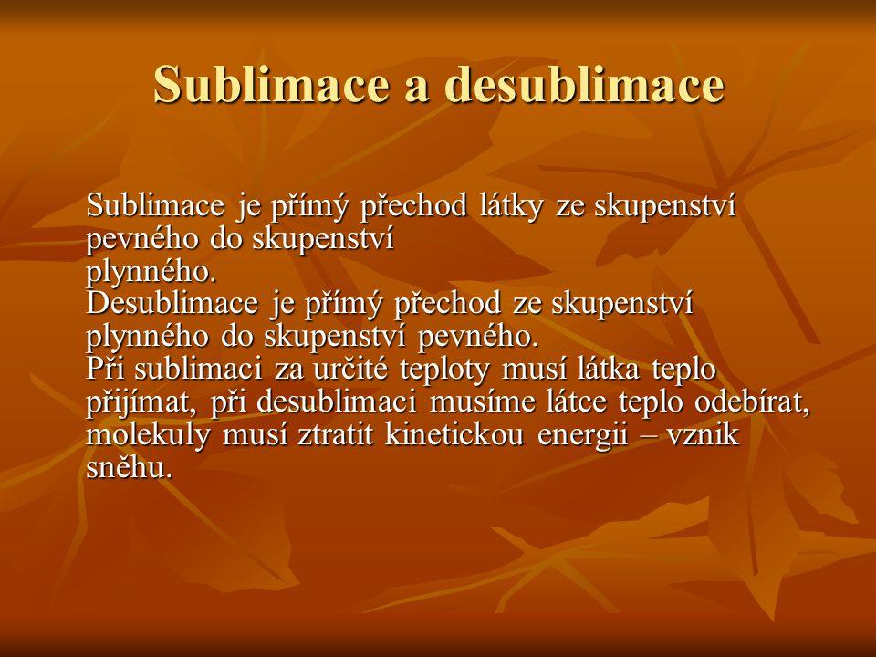 Sublimace a desublimace Sublimace je přímý přechod látky ze skupenství pevného do skupenství plynného.