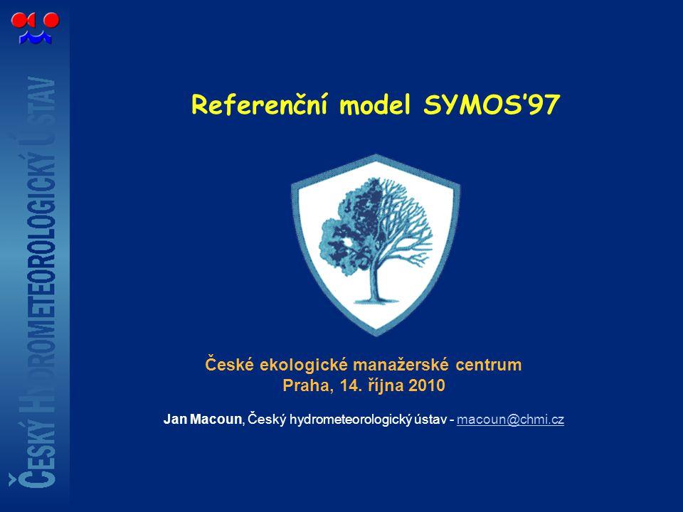 Referenční model SYMOS'97 České ekologické manažerské centrum Praha, 14. října 2010 Jan Macoun, Český hydrometeorologický ústav - macoun@chmi.czmacoun