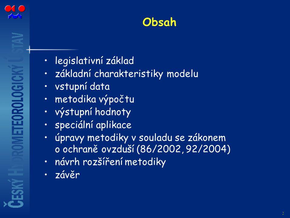 2 Obsah legislativní základ základní charakteristiky modelu vstupní data metodika výpočtu výstupní hodnoty speciální aplikace úpravy metodiky v soulad
