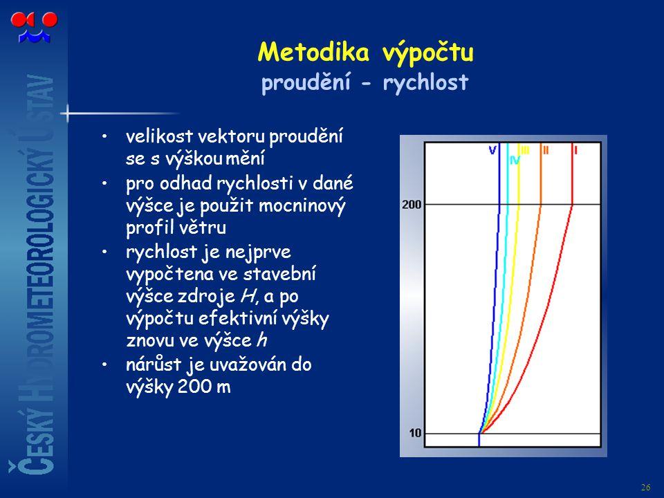26 Metodika výpočtu proudění - rychlost velikost vektoru proudění se s výškou mění pro odhad rychlosti v dané výšce je použit mocninový profil větru r