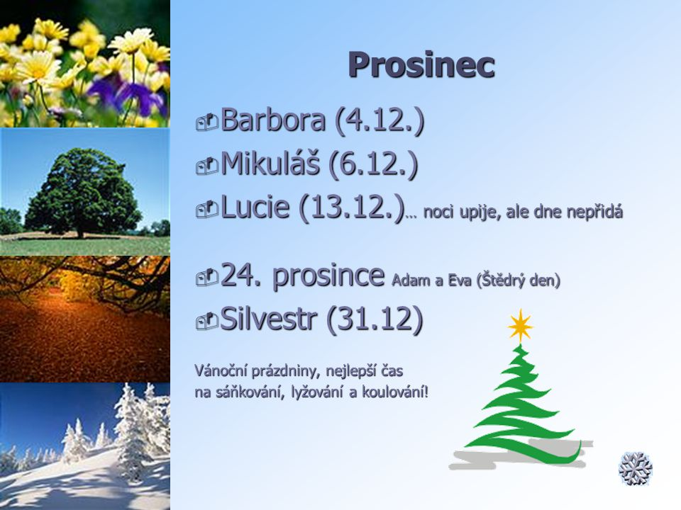 Prosinec  Barbora (4.12.)  Mikuláš (6.12.)  Lucie (13.12.) … noci upije, ale dne nepřidá  24. prosince Adam a Eva (Štědrý den)  Silvestr (31.12)