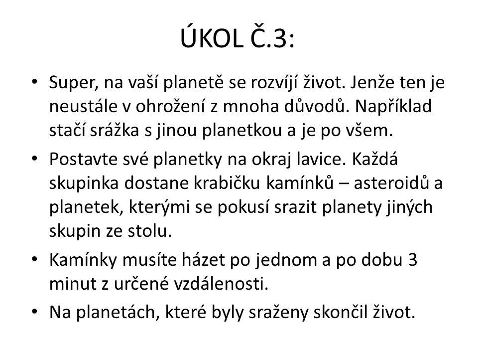 ÚKOL Č.3: Super, na vaší planetě se rozvíjí život. Jenže ten je neustále v ohrožení z mnoha důvodů. Například stačí srážka s jinou planetkou a je po v