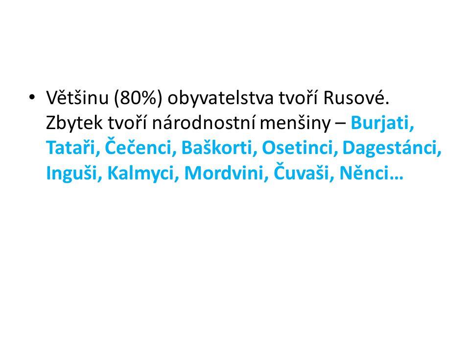 Většinu (80%) obyvatelstva tvoří Rusové. Zbytek tvoří národnostní menšiny – Burjati, Tataři, Čečenci, Baškorti, Osetinci, Dagestánci, Inguši, Kalmyci,