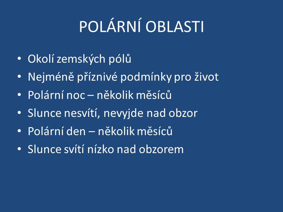 POLÁRNÍ OBLASTI Okolí zemských pólů Nejméně příznivé podmínky pro život Polární noc – několik měsíců Slunce nesvítí, nevyjde nad obzor Polární den – několik měsíců Slunce svítí nízko nad obzorem