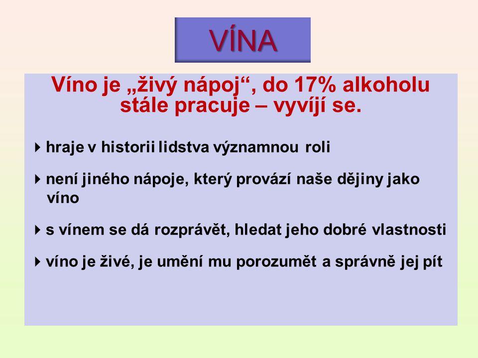 """VÍNA Víno je """"živý nápoj"""", do 17% alkoholu stále pracuje – vyvíjí se.  hraje v historii lidstva významnou roli  není jiného nápoje, který provází na"""