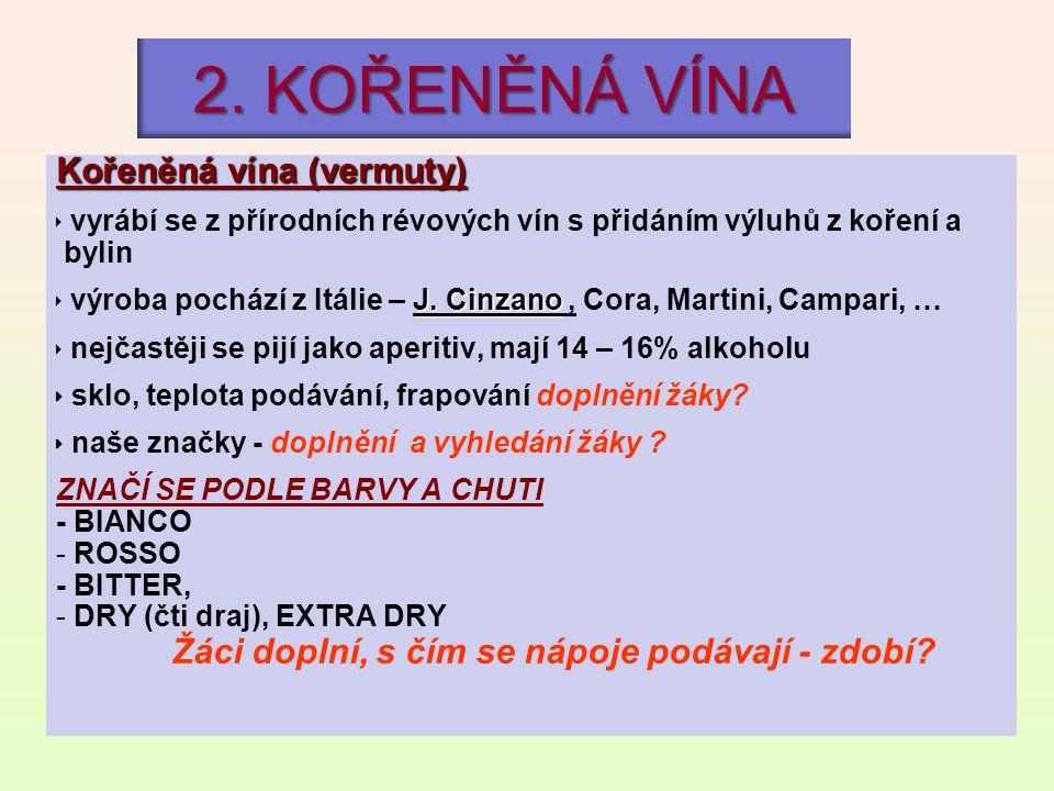 2. KOŘENĚNÁ VÍNA Kořeněná vína (vermuty)  vyrábí se z přírodních révových vín s přidáním výluhů z koření a bylin J. Cinzano  výroba pochází z Itálie