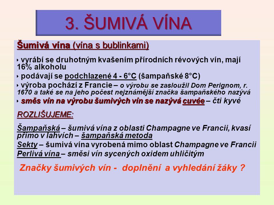 3. ŠUMIVÁ VÍNA Šumivá vína (vína s bublinkami)  vyrábí se druhotným kvašením přírodních révových vín, mají 16% alkoholu  podávají se podchlazené 4 -