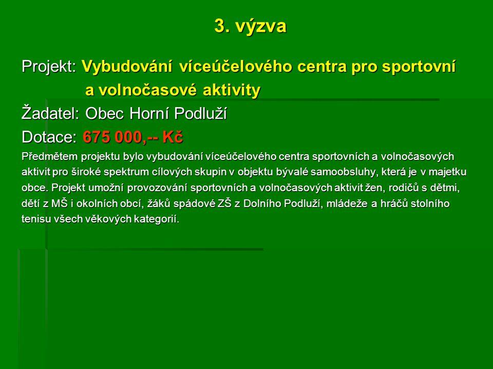 3. výzva Projekt: Vybudování víceúčelového centra pro sportovní a volnočasové aktivity a volnočasové aktivity Žadatel: Obec Horní Podluží Dotace: 675