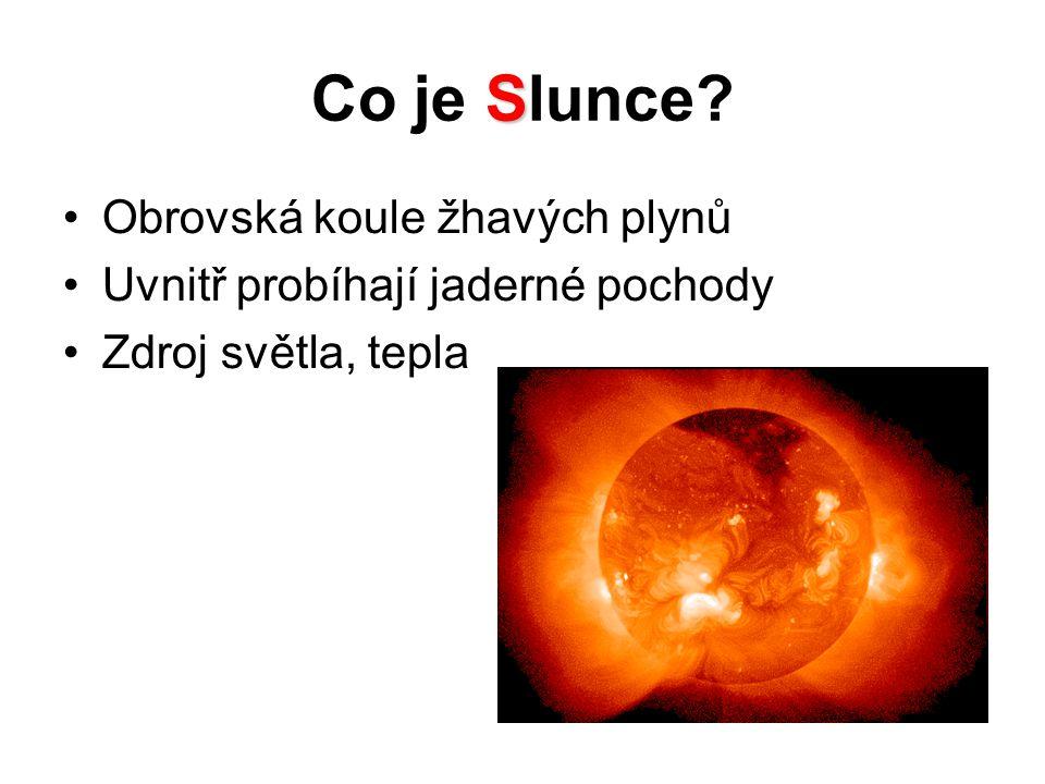 S Co je Slunce Obrovská koule žhavých plynů Uvnitř probíhají jaderné pochody Zdroj světla, tepla
