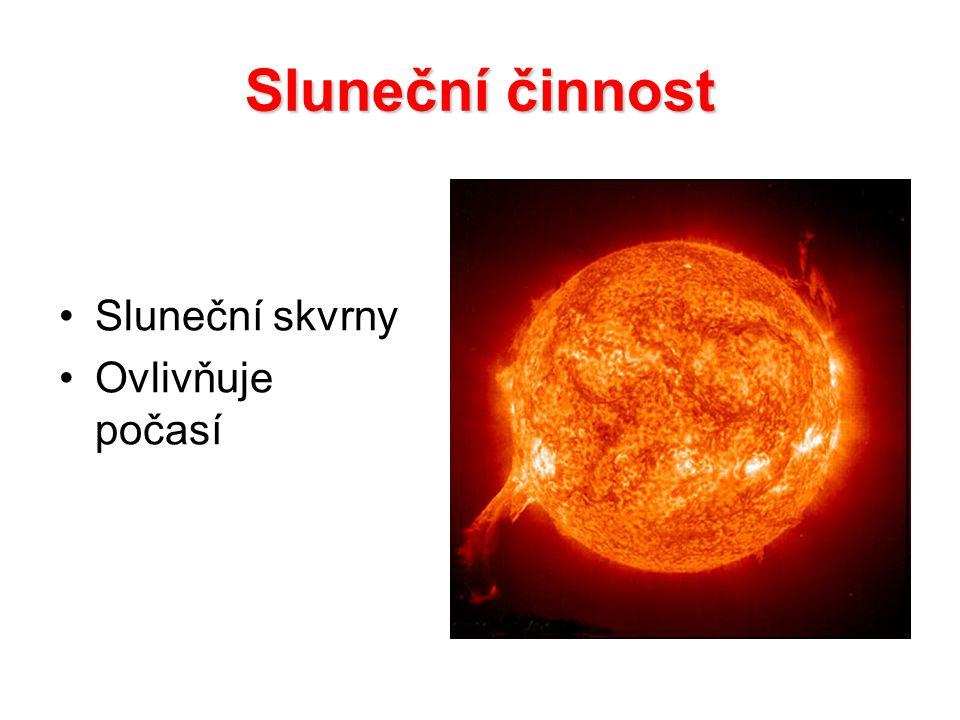 Sluneční činnost Sluneční skvrny Ovlivňuje počasí