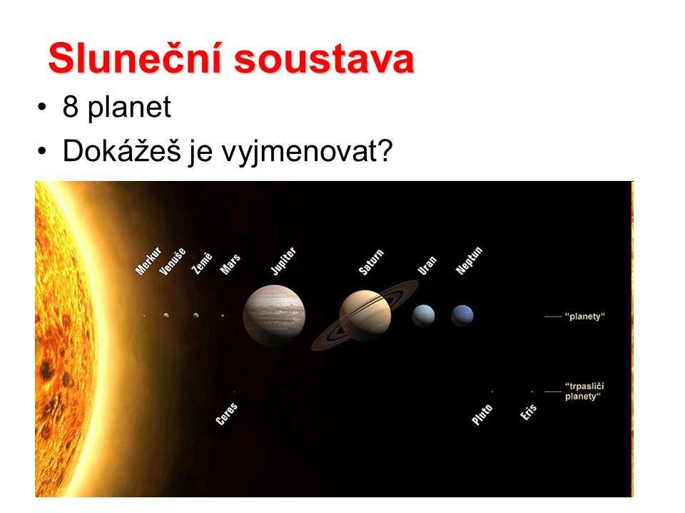 Sluneční soustava 8 planet Dokážeš je vyjmenovat