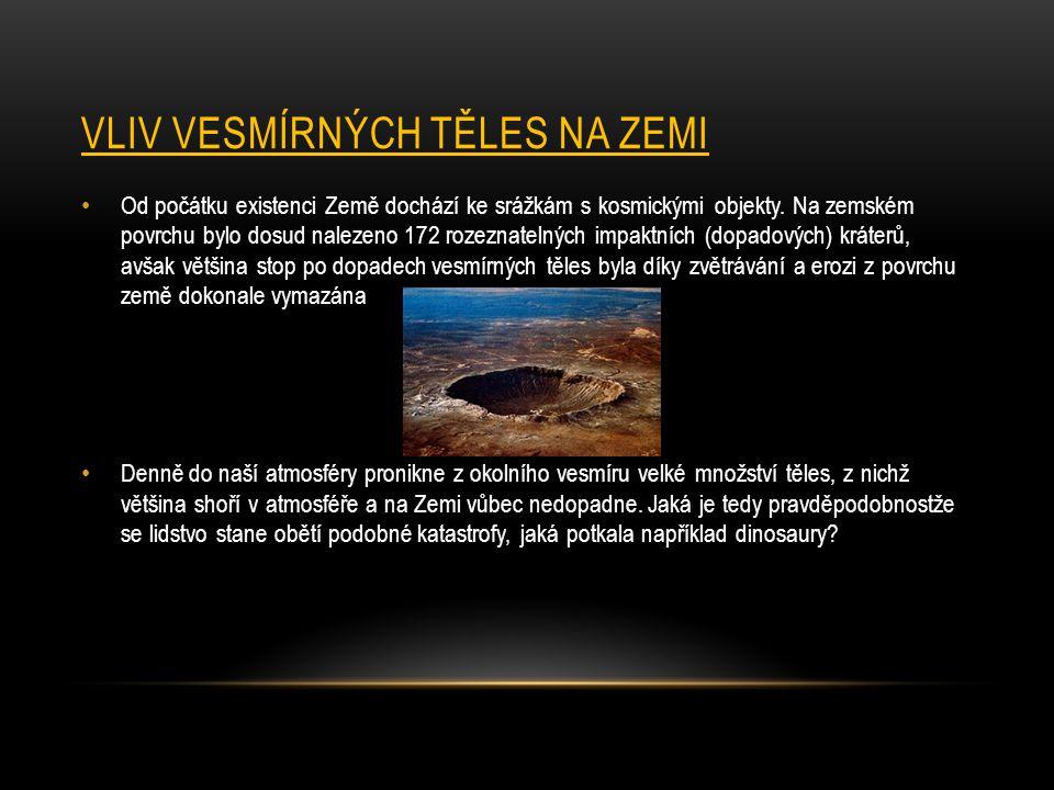 VLIV VESMÍRNÝCH TĚLES NA ZEMI Od počátku existenci Země dochází ke srážkám s kosmickými objekty. Na zemském povrchu bylo dosud nalezeno 172 rozeznatel
