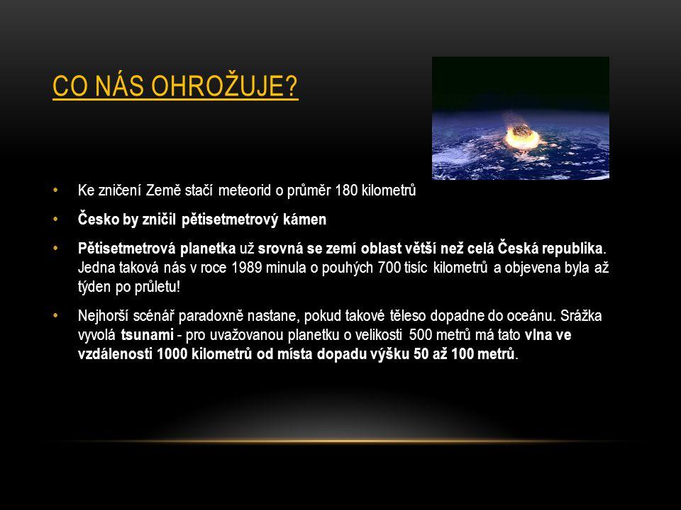 CO NÁS OHROŽUJE? Ke zničení Země stačí meteorid o průměr 180 kilometrů Česko by zničil pětisetmetrový kámen Pětisetmetrová planetka už srovná se zemí