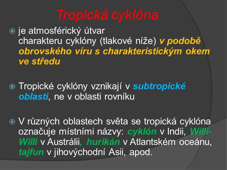Tropická cyklóna  je atmosférický útvar charakteru cyklóny (tlakové níže) v podobě obrovského víru s charakteristickým okem ve středu  Tropické cykl