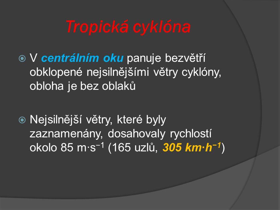 Tropická cyklóna  V centrálním oku panuje bezvětří obklopené nejsilnějšími větry cyklóny, obloha je bez oblaků  Nejsilnější větry, které byly zaznam