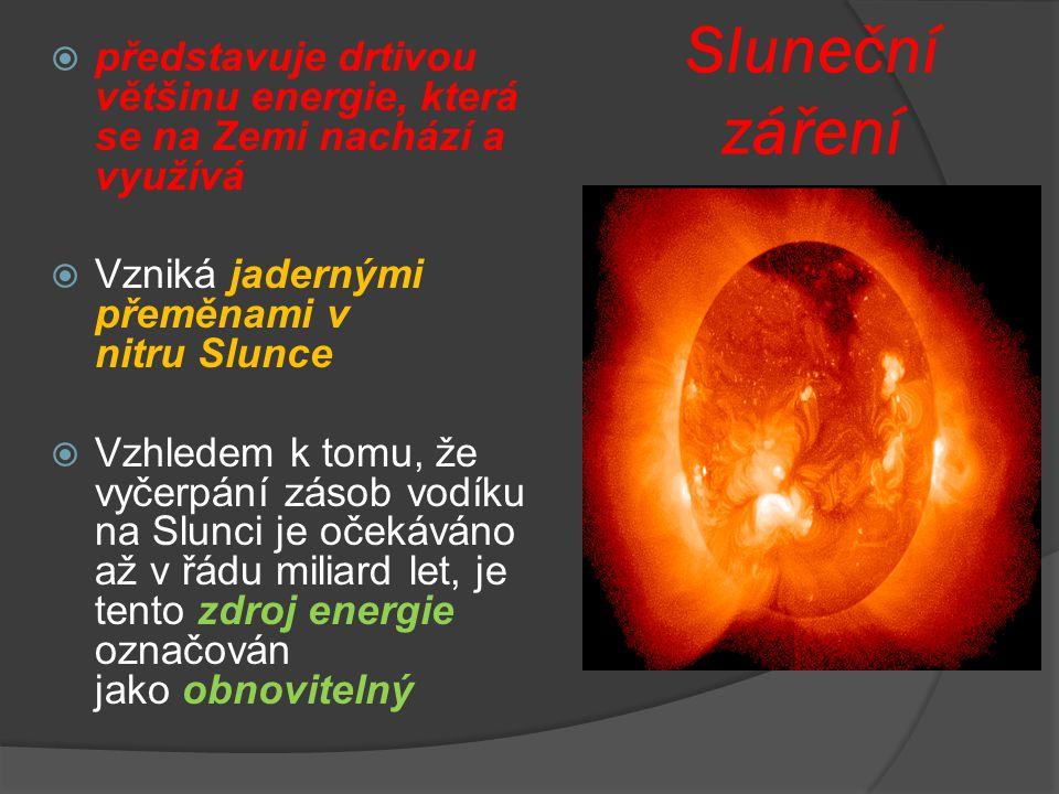 Sluneční záření  představuje drtivou většinu energie, která se na Zemi nachází a využívá  Vzniká jadernými přeměnami v nitru Slunce  Vzhledem k tom