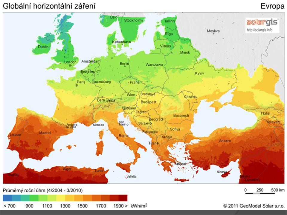 Mapa intenzity sluneční energie dopadající na Zemi
