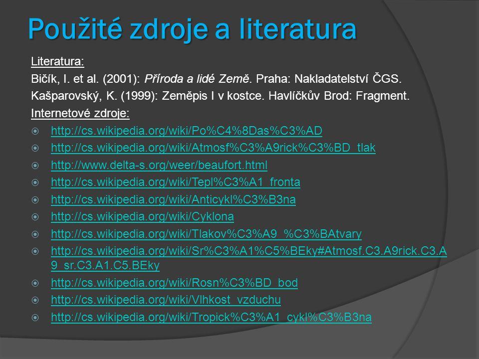 Použité zdroje a literatura Literatura: Bičík, I. et al. (2001): Příroda a lidé Země. Praha: Nakladatelství ČGS. Kašparovský, K. (1999): Zeměpis I v k