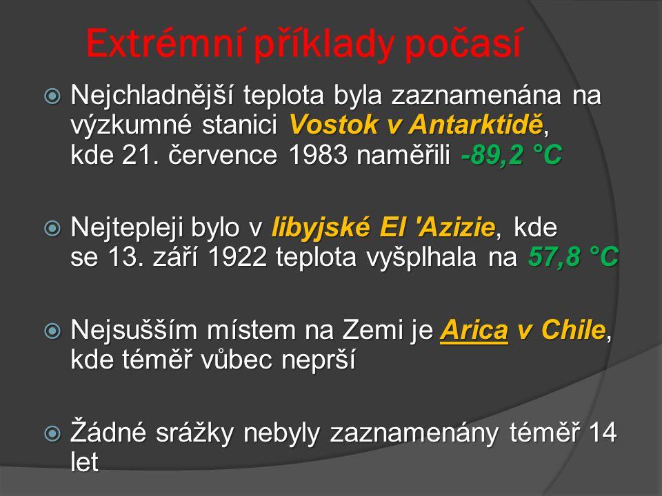 Extrémní příklady počasí  Nejchladnější teplota byla zaznamenána na výzkumné stanici Vostok v Antarktidě, kde 21. července 1983 naměřili -89,2 °C  N